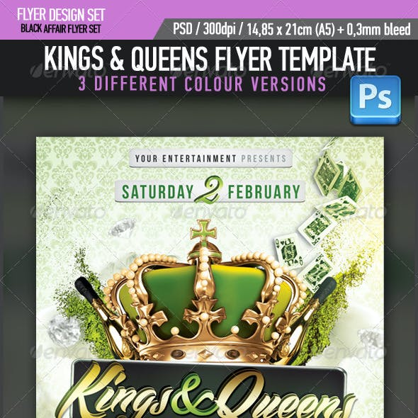 Kings Queens R&B Party Flyer Template