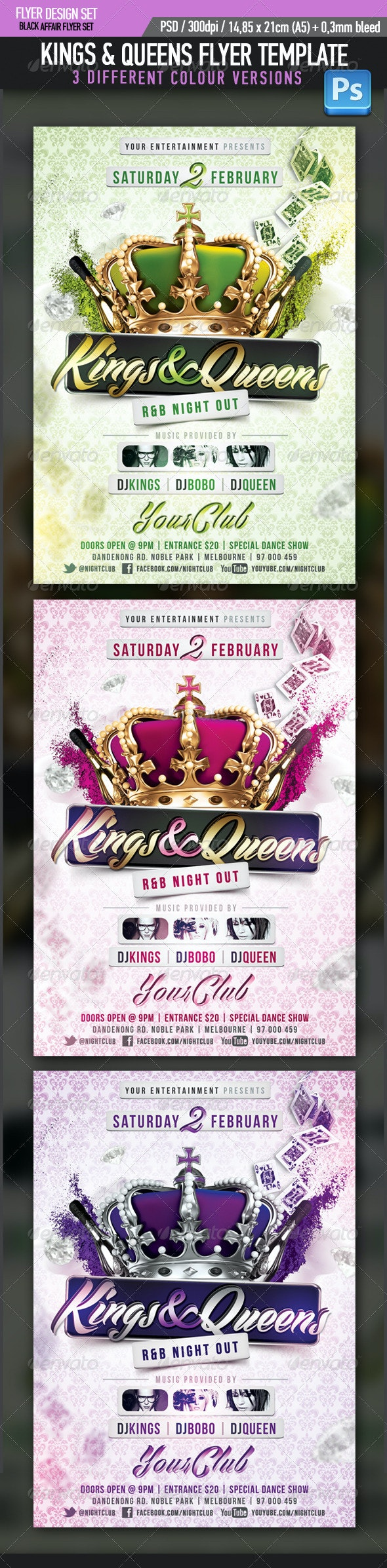 Kings Queens R&B Party Flyer Template - Clubs & Parties Events