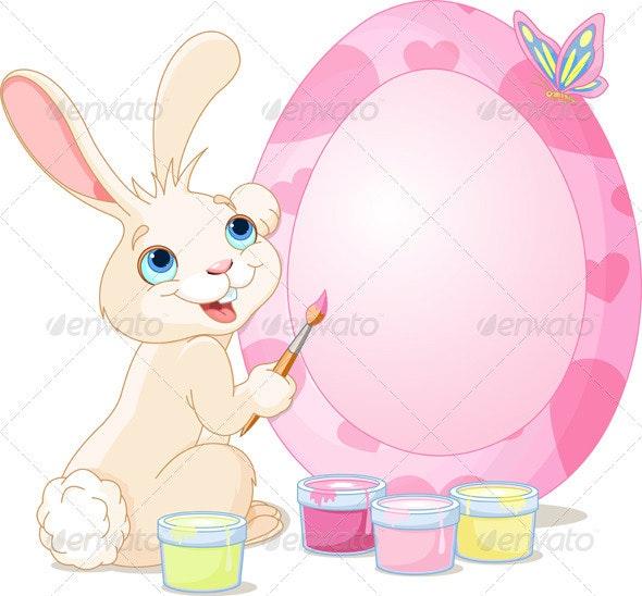 Easter Bunny Painting Easter Egg - Seasons/Holidays Conceptual