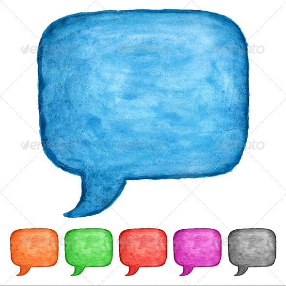 6 Speech Bubble Watercolor Square Shape