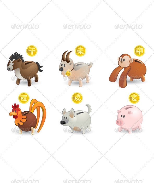 Chinese Zodiac Horse Goat Monkey Rooster Dog Pig - Animals Characters