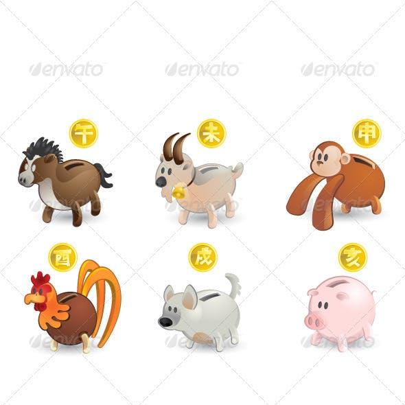Chinese Zodiac Horse Goat Monkey Rooster Dog Pig