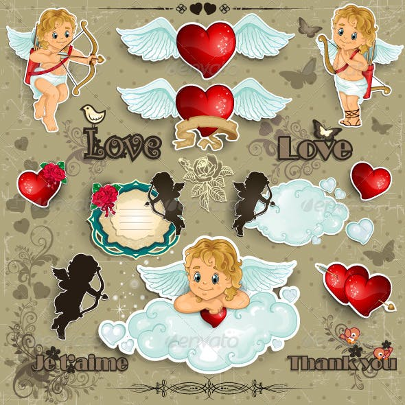 Hearts and Cupid Love Set