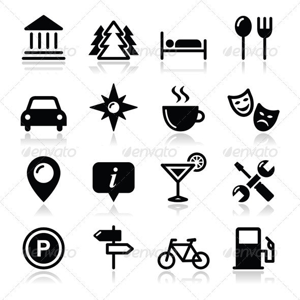 Travel Tourism Icons Set - Vector - Travel Conceptual