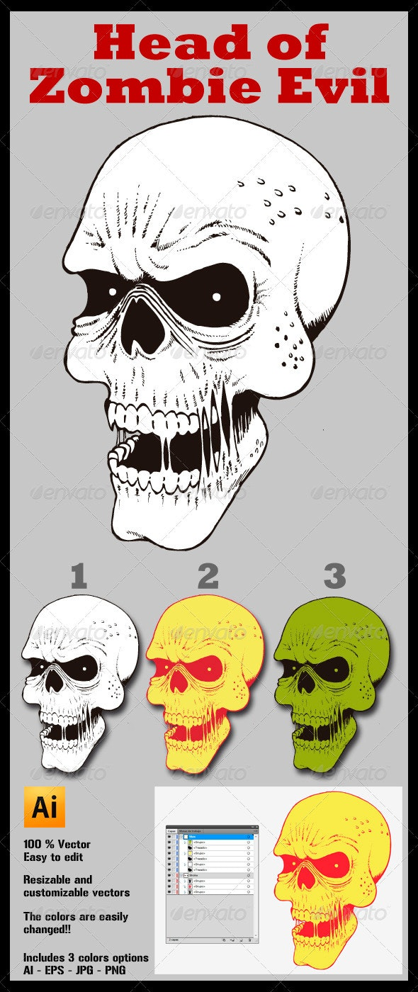 Head of Zombie Evil - Monsters Characters