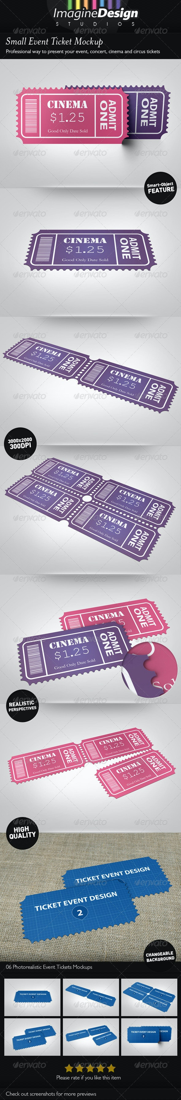 Small Event Ticket Mockup - Miscellaneous Print