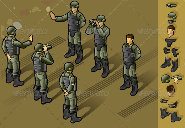 Isometric Set of Military People Standing - Miscellaneous Vectors