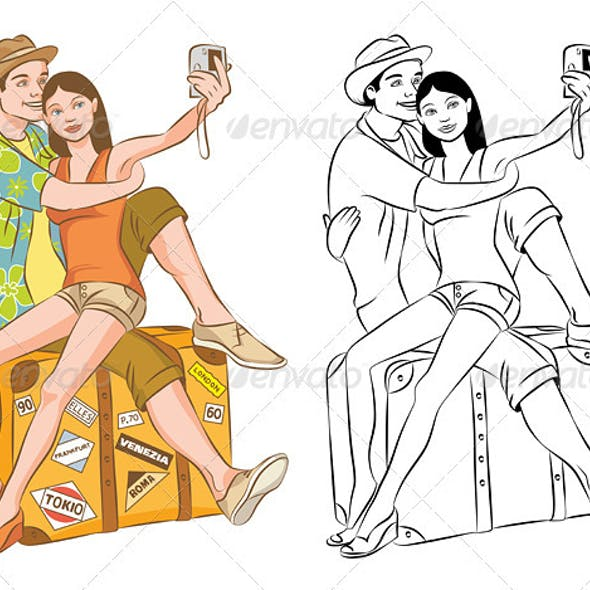 Tourist Couple Taking Their Self Portrait Vector