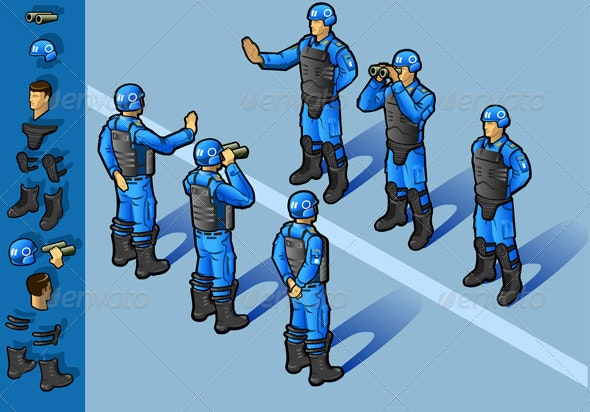 Isometric Set of Military Peacekeepers Standing - Conceptual Vectors