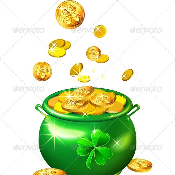 Vector St. Patrick's Day Green Pot With Gold Coins