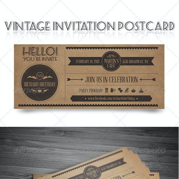 Vintage Invitation Postcard