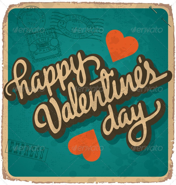Hand-Lettered Vintage Valentine Card (Vector) - Valentines Seasons/Holidays