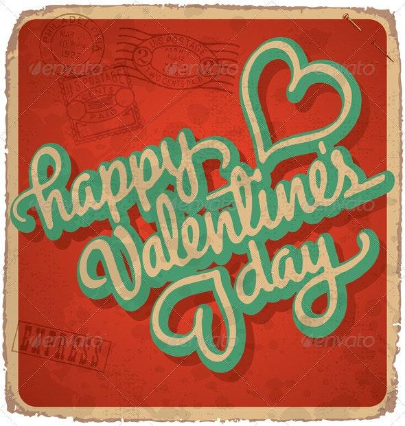 Hand-Lettered Vintage Valentine Card (vector) - Valentines Seasons/Holidays