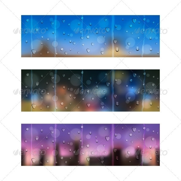 Drops on Window Glass. Seamless Banners. - Backgrounds Decorative