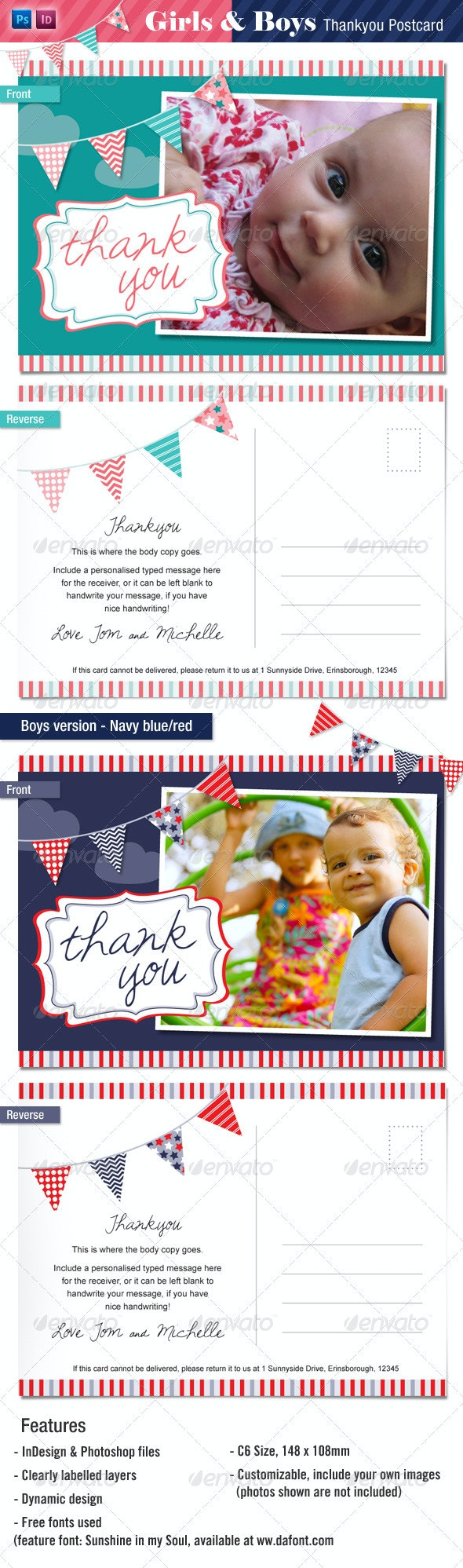 Baby Thankyou Postcards for Boys and Girls - Family Cards & Invites