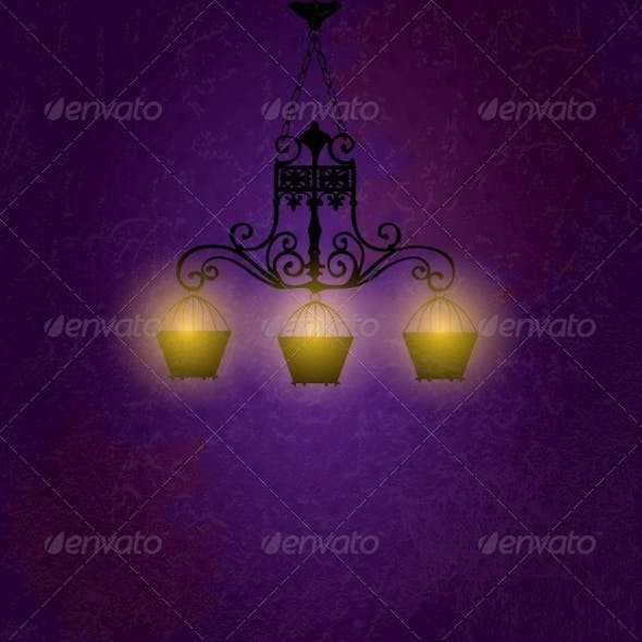 Vintage background with chandelier vector illustra