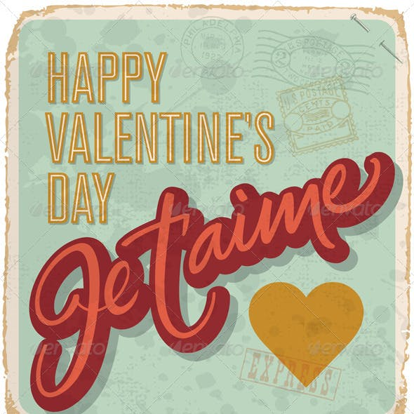 Hand-Lettered Vintage Valentine Card (vector)