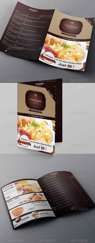 Food Menu & Bi-fold Brochure Template