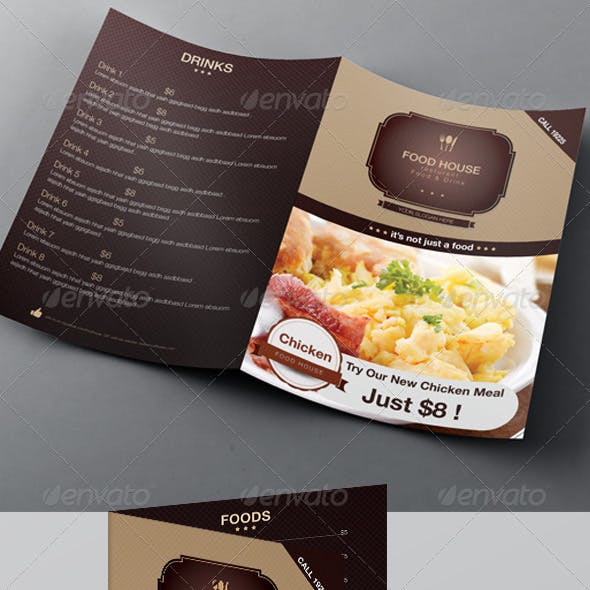 Food Menu & Bi-fold Brochure Template