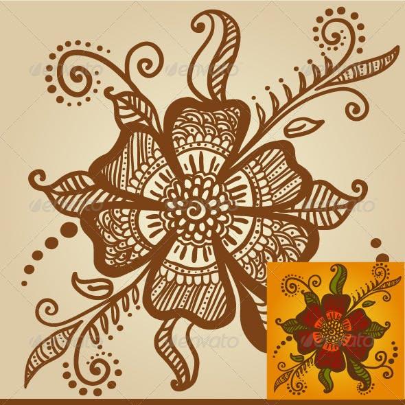 Flower for Henna Mehndi Tattoo