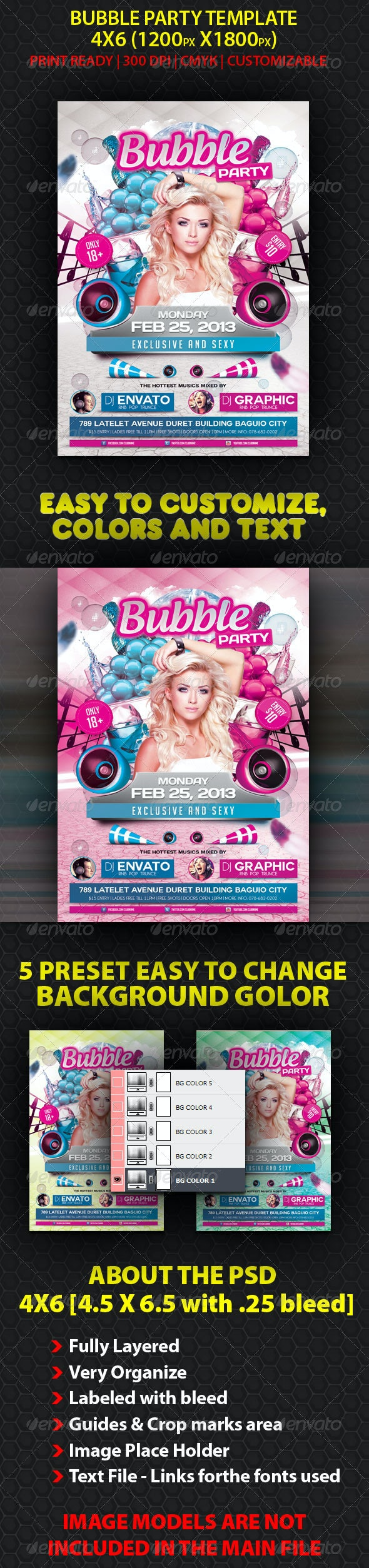 Bubble Party Flyer Template - Clubs & Parties Events
