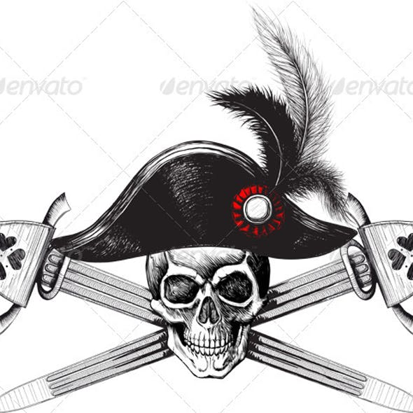 Pirate symbol of a skull in the captain's hat