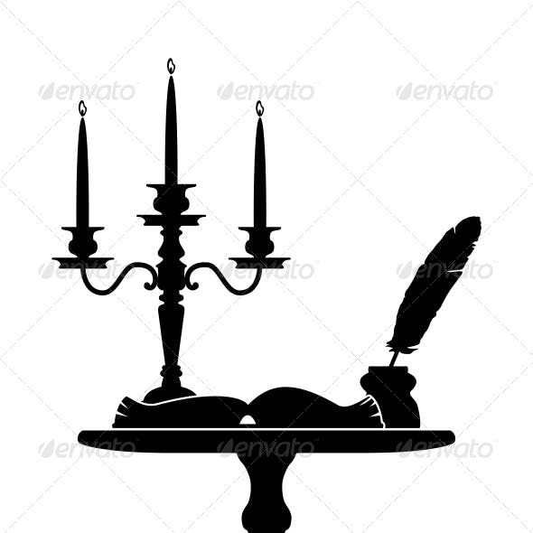 Coffee table with a candelabrum