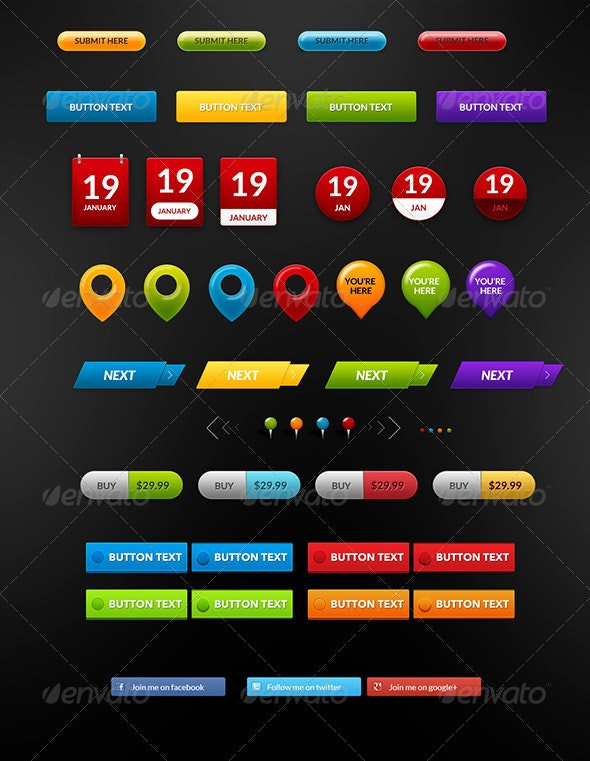 Buttons Pack 2 - Buttons Web Elements