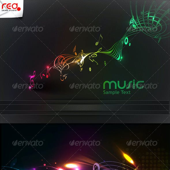 Colorful Music Note Background