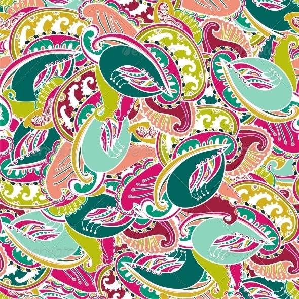 Colourful seamless Indian paisley pattern - Patterns Decorative