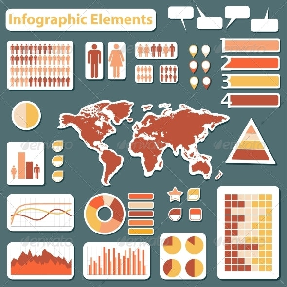 Set elements of infographics red and yellow - Infographics