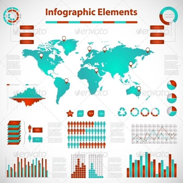 Set elements of infographics red-blue - Infographics