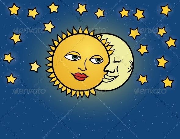 moon sun, vector illustration - Decorative Symbols Decorative