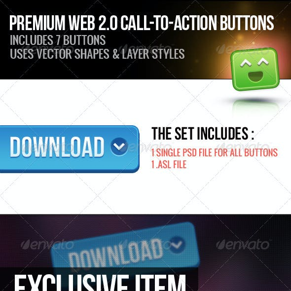 Premium Web 2.0 Call to Action Buttons