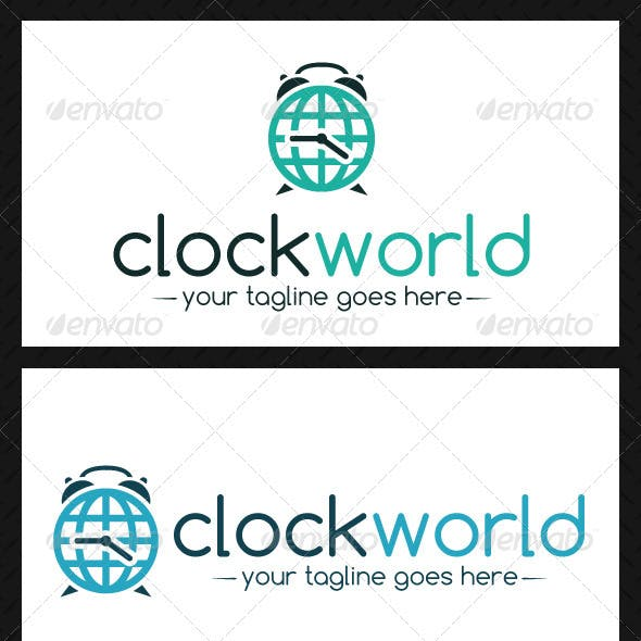 Clock World Logo Template