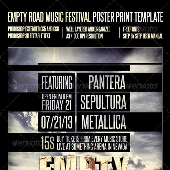 Empty Road Music Festival Poster Print Template