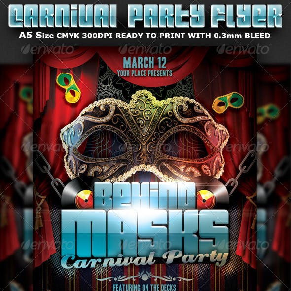 Behind Masks Carnival Party Flyer Template