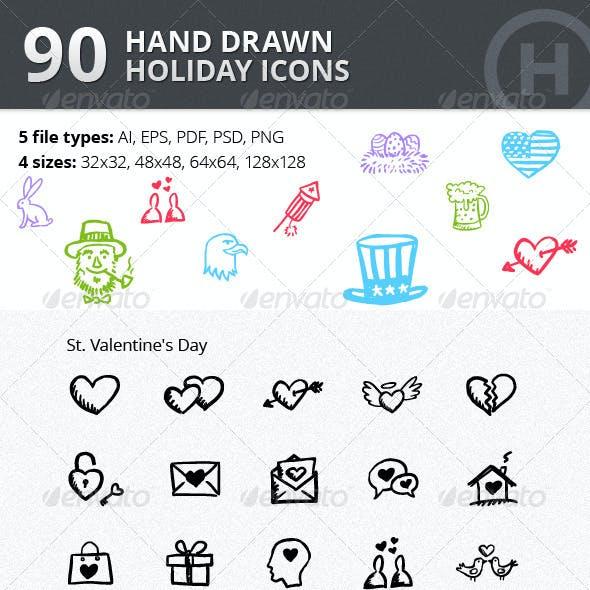 90 Hand-drawn Holiday Icons vol.2