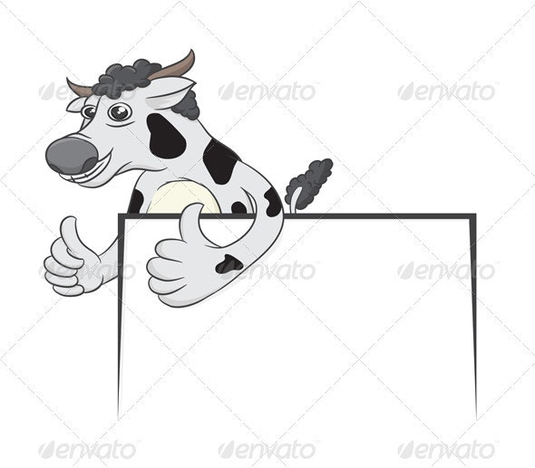 Cow and White Board - Animals Characters