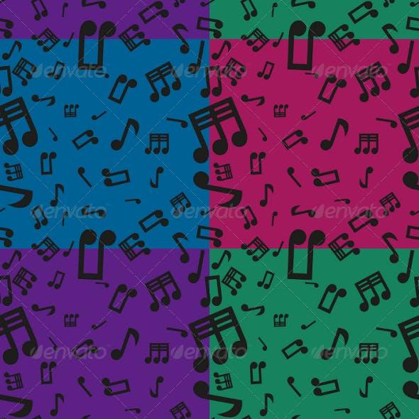 Musical Notes Seamless Pattern Set