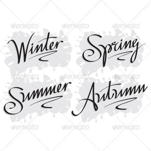 Seasons's Inscriptions Hand Lettering Set (Vector) - Seasons/Holidays Conceptual