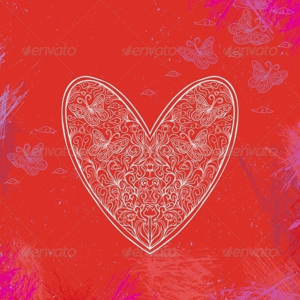 Illustration of Ornamental Heart Shape - Weddings Seasons/Holidays