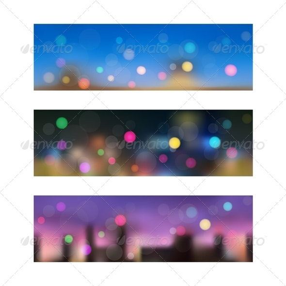 Night in City. Seamless Banners. - Backgrounds Decorative