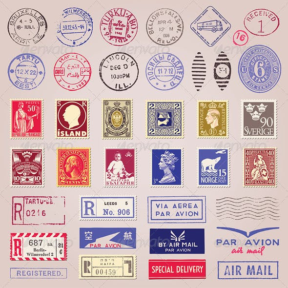 Vector Vintage Postage Stamps, Marks, Stickers