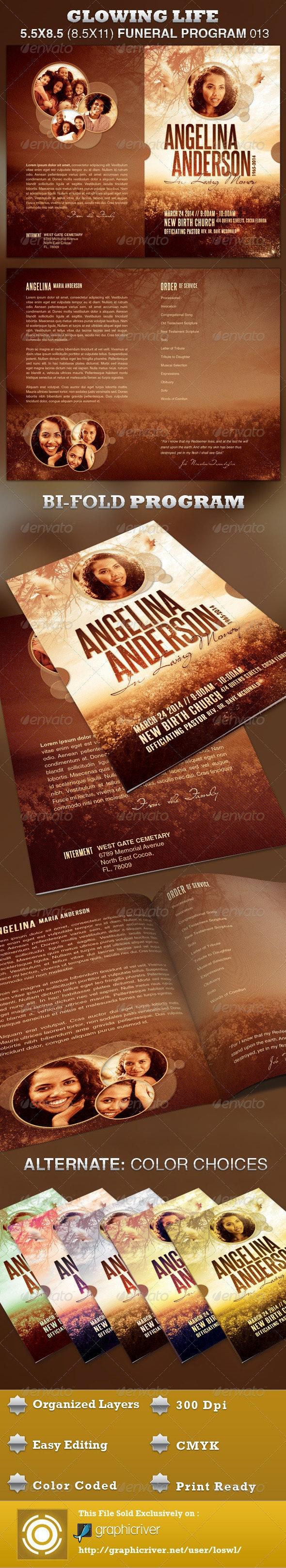 Glowing Life Funeral Program Template 013 - Informational Brochures