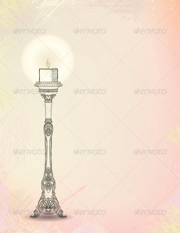 vector illustration of glowing candlestick - Decorative Symbols Decorative