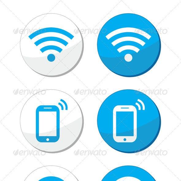 Wifi Network Internet Zone Blue Labels Set