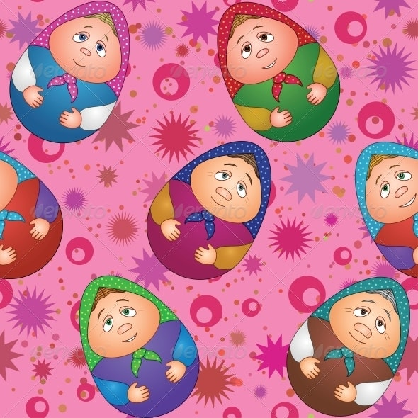 Seamless Dolls and Abstract Pattern - Patterns Decorative