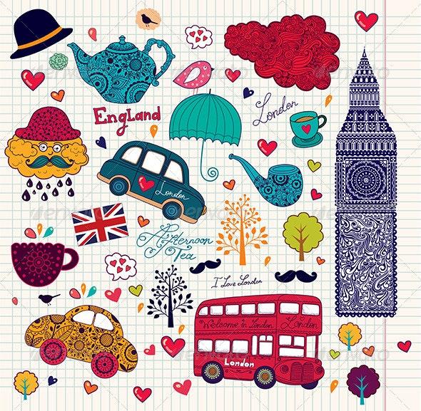 Vector Set of London Symbols - Travel Conceptual
