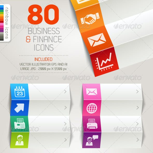80 Business and Finance Icons - Rainbow